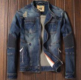 Designer Motorcycle Jackets NZ - Brand Designer- Pop Autumn Winter Brand Mens Motorcycle Biker Denim Jackets Stand Collar Zipper Jeans Coat High Quality M-2XL