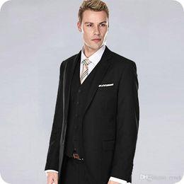 $enCountryForm.capitalKeyWord Australia - New Arrivial Black Men Suits for Wedding Groom Tuxedos 3Piece Formal Business Man Suits Slim Fit Groomsmen Blazer Handsome Costume Homme