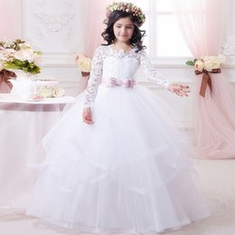 $enCountryForm.capitalKeyWord Australia - 2019 Flower Girls Dresses Long Sleeves Sweep Train Illusion Bodice Applique Birthday Party Girls Pageant Gowns With Bow Customized