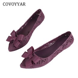 bf0a2d61 COVOYYAR 2019 Jelly Women Shoes Cut Out Bow zapatos planos mujer punta  estrecha Spring Summer Lady PVC lindo Causal WFS427