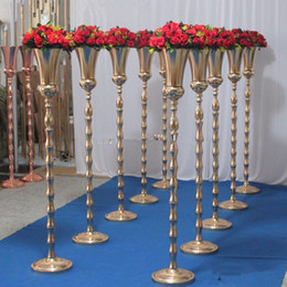 tall centerpiece vases wholesale Australia - 80cm 100cm tall )Gold metal vase trumpet vase stand for wedding centerpiece with table wedding decoration for party event senyu0079