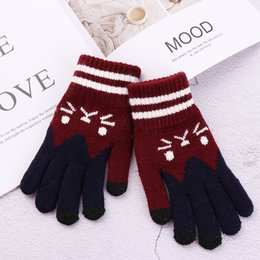 $enCountryForm.capitalKeyWord Australia - 2018 Fashionable Winter Touch Screen Gloves Women Girl Cute Cartoon Cat Printed Wool Knitted Full Finger Mittens Christmas Gifts