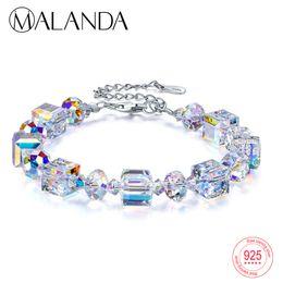 Großhandel Malanda Brand Square Crystals von Swarovski Armbänder Bangles Fashion Sterling Silber Armbänder Bangles für Frauen Schmuck Geschenk J 190429