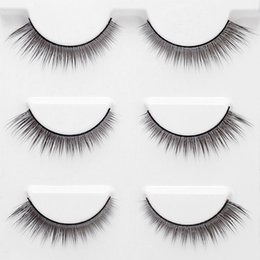 $enCountryForm.capitalKeyWord Australia - 3 Pairs 3D False Eyelashes Invisible Band Natural Dense Cross Black Eyelash Full Strip Reusable W5819-4