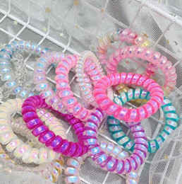 Wholesale 12Styles Laser Telephone Wire Cord Gum Hair Tie Girls Elastic Hair Band Ring Rope Transparent laser Bracelet Stretchy Hair Ropes GGA2329