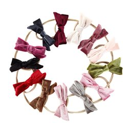 christmas headbands for infants Australia - 16 Colors Velvet Ribbon Bow Baby Nylon Headband Knotted Hair Band for Infants Photography Props CFJ771