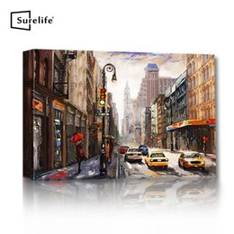 stretched canvas art prints NZ - Modern Street View of New York Landscape Canvas Oil Paintings Poster Prints Wall Art Pictures DIY Wall Stretched Wood Frame