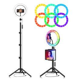 venda por atacado 10inch RGB luz colorida Usb Beleza Video Studio foto do círculo da lâmpada Dimmable selfie Led Light Anel Com tripé flash LED