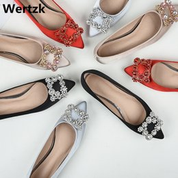 Plus size43 Genuine Leather Women Flat Ballet Shoes Bling Crystal Pointed  Toe Flats Shoes Elegant Lady wedding C026 9b6ee987aecf