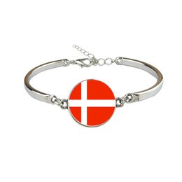 Woman Fans UK - Denmark National Flag World Cup Football Fan Time Gem Glass Cabochon Button Charm Bracelets For Women Men Link Chain Wristband Gifts Jewelry