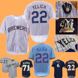 Christian Yelich Jersey Baseball Milwaukee Brewers Jerseys Lorenzo Cain  Eric Thames Men Women Youth Home Away White Pinstripe Blue Pullover 05fb8fbe0