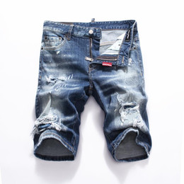 new 2019 Uomo Denim Tearing shorts Jeans Night club blu Cotone moda Stretto pantaloni da uomo estate A8066 PHILIPP PLEIN DSQUARED2 DSQ2 D2