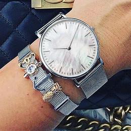 $enCountryForm.capitalKeyWord NZ - Mavis Hare Silver Pink seashell Watches Stainless Steel Perfectly styles Mesh bracelet with wonderful DIY charms Bracelet set