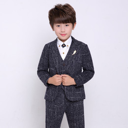 boys formal jackets Australia - Children Formal Blazer Jacket Vest Pants Tie 4pcs Flower Boys Tuxedo Suit for Weddings Kids Gentleman Party Host Clothing Set