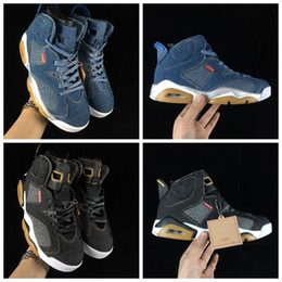 Chinese  2019 New Release 6 LS Denim Mens Basketball Shoes NRG 6s Black Blue Jean Jiont Limited Man Trainers Basket Ball Designer Sneakers manufacturers