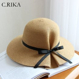 Korean Hats For Women Australia - 2019 Small Fresh Bow Sun Hat for Women Beautiful Summer Hats Women Girls Outdoor Travel Sunscreen cap Korean Sun Hat Straw Hats