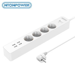 $enCountryForm.capitalKeyWord Australia - Accessories Parts Electrical Socket Plugs Adaptors NTONPOWER Smart USB Power Strip EU Plug 4 Outlet 4 Port USB Charger - 1.8M Cable