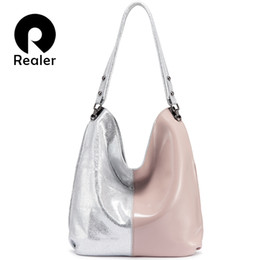 $enCountryForm.capitalKeyWord NZ - Realer Genuine Leather Hobo Bag Women Shoulder Bag Tote Patchwork Handbag Ladies Bags Designer High Qualiity Female J190719