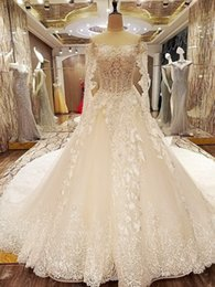 $enCountryForm.capitalKeyWord NZ - Luxury Applique Arabic Bridal Dresses Off The Shoulder V-Neck Special Long Sleeves Corset Back Wedding Gowns With 200cm Train 2019 New Style