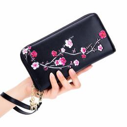 $enCountryForm.capitalKeyWord NZ - Plum Flower RFID Wallet Women Genuine Leather Wallets Ladies Casual Purse Zip Vintage Multi-card Wristlet Wallet Notecase Mujer