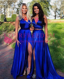 maxi style bridesmaid dresses 2019 - 2019 Royal Blue Maxi Style Bridesmaid Dresses Sexy Side Split A Line Maid Of Honor Wedding Guest Gown Custom Made discou
