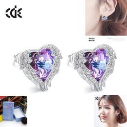 $enCountryForm.capitalKeyWord Canada - CDE Earrings Angel Wings with Swarovski Elements Crystal Earrings Female Ocean Heart European and American Earrings
