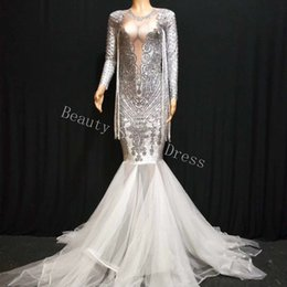 sheer sleeved prom dresses Canada - Luxury Silver Rhinestone Evening Mermaid Dress Sexy Deep V-neck Long-Sleeved Tassel Stretch Birthday Prom Dance Costume DS DJ Dress