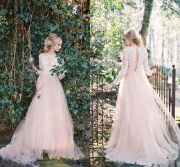 Lace Hole Back Wedding Dress Australia - Western Garden Wedding Dresses Long Sleeves V Neck Country A Line Wedding Dresses Key Hole Back Lace Top Wedding Gowns 2019 Newest