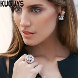 $enCountryForm.capitalKeyWord Australia - KUGUYS Trendy Jewelry Set Luxury Crystals Ball Stud Earring for Womens Crystals Ball Rings Fashion Party Wedding Accessories