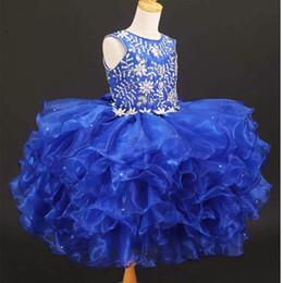 $enCountryForm.capitalKeyWord Australia - Toddle Cupcake Girls Pageant Dresses 2019 Royal Blue Organza Ball Gown Ruffles Crystal Bling Rhinestones Flower Girls Dress Cheap