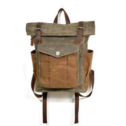 $enCountryForm.capitalKeyWord NZ - Vintage Canvas Leather Bag Commuter Backpack Waxed Canvas & Leather Laptop Backpack Work-to-weekend Travel