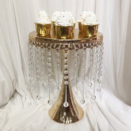 $enCountryForm.capitalKeyWord Australia - Luxury gold color 3 sizes acrylic crystal beaded decor metal wedding cake stand plate event party cupcake tower
