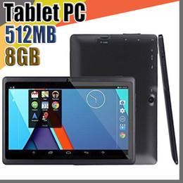 Vente en gros 12X 7 pouces Capacitif Allwinner A33 Quad Core Android 4.4 Caméra double caméra Tablet PC 8 Go de RAM 512 Mo ROM WiFi EPAD Youtube Facebook Google