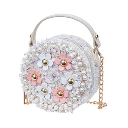 white pearl clutch bag Australia - Fashion Flower Pearl Kids Baby Messenger Bags Clutch Women Crossbody Bag Female Shoulder bags For Girls Party Handbags