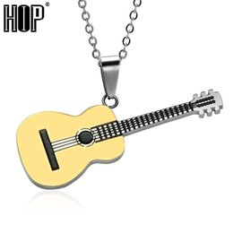 $enCountryForm.capitalKeyWord Australia - HIP Rock Two Tone Gold Color Titanium Stainless Steel Music Guitar Pendant Necklace for Men Jewelry Dropshipping