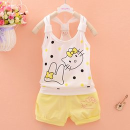 $enCountryForm.capitalKeyWord Australia - Baby Girl Summer Clothes Cute Hello Kitty Sleeveless Tops Vest + Shorts 2PCS Childrens Infant Clothing Kids Bebes Jogging