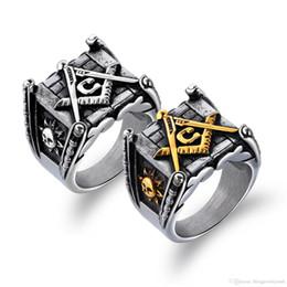 Punk Rings Australia - Men Jewelry Masonic Design Ring Stainless Steel Moon And Sun Original Punk Ring For Boyfriend Stylish Gift GJ633