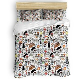 kawaii bedding NZ - Kawaii Ghibli Doodle Duvet Cover Set Bed Sheets Comforter Cover Pillowcases Twin Full Queen King Size 4pcs Bedding Sets