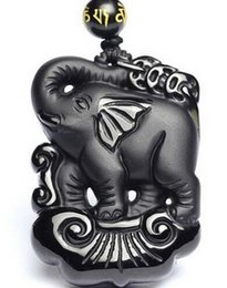 elephant carvings UK - New wonderful Chinese handmade Natural black obsidian carved lucky elephant pendant fashion necklace pendants jewelry