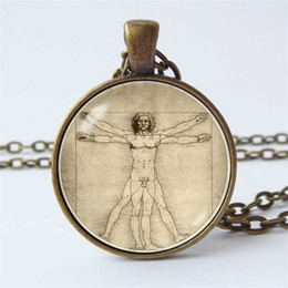 $enCountryForm.capitalKeyWord NZ - Da Vinci Evolution Necklace Vitruvian Men's Glass Dome Pendant Art Jewelry Accessories Fashion Men's and Women's Clothing Pendant