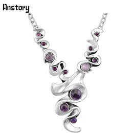 China Fashion Jewelry Necklace Casecade Pendant Natural Stone Amethysts Necklace For Women Vintage Antique Silver Plated Wedding Party Gift N104 supplier vintage amethyst stone necklace suppliers