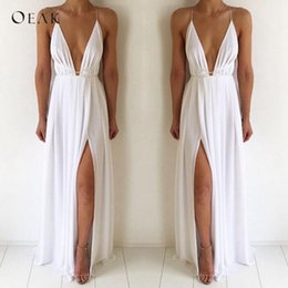 $enCountryForm.capitalKeyWord Australia - Oeak Sexy V-neck Sleeveless Summer Dress Women White Maxi Long Dress High Waist Split Fashion Bandage Party Boho Beach Vestido Y190507