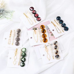 $enCountryForm.capitalKeyWord Australia - 1 Set New Vintage Acetic Acid Round Geometric Hair Clip Metal Hair Pins Pearl Colorful Beads Hairgrip for Women Accessories