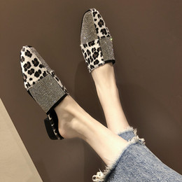 $enCountryForm.capitalKeyWord NZ - 2019 Womens Flats Leopard Rhinestone Low Heels Pointed Toe Mules Chic Summer Street Parties Womens Slides Sandals ,with Arch Support