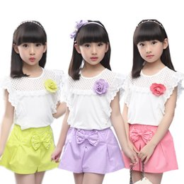t shirt tops teenage girls NZ - Flower Girls Clothes Set Children Costume Kids Clothing Suit Top T-shirt + Skirt Pants 2PCS Outfits Summer Teenage Tracksuit