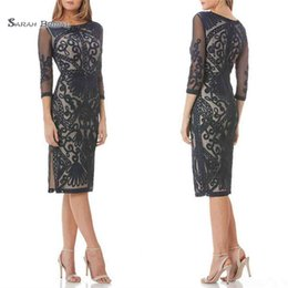 $enCountryForm.capitalKeyWord Australia - 2019 Gray Jewel Neck With Long Sleeves Knee Length Wedding Guest Dress for Mom Plus Size Evening Party Gowns
