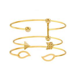 $enCountryForm.capitalKeyWord UK - Leaf Arrow Ball Bracelet Set for Women Girl Metal Opening Adjustable Bracelet Bangles Statement Jewelry 3PCS SET Gold Silver