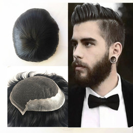 Back Hair Men Australia - Swiss Lace Men Toupee Lace Front With Skin Pu Back Toupee For Men Replacement System Breathable Durable Straight Human Hair Toupee Wholesale