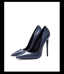 $enCountryForm.capitalKeyWord Canada - Free shipping 2019 lady patent leather Pointed 12CM super stiletto high heels solid pumps dark Navy Dress shoes pillage black bottom 34-44 1