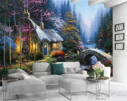 cottage home decor UK - 3d Room Wallpaper Custom Photo Nordic-style romantic forest cottage Home Decor Living Room Bedroom HD Wallpaper